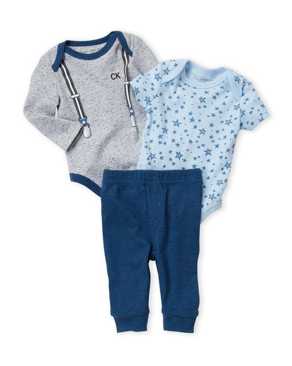 CALVIN KLEIN (Newborn Boys) 3-Piece Suspender Bodysuit & Joggers Set