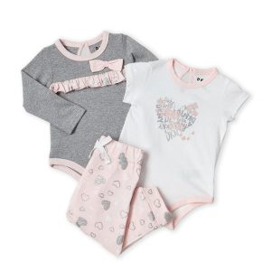 DKNY (Newborn Girls) 3-Piece Hearts Bodysuit & Pants Set