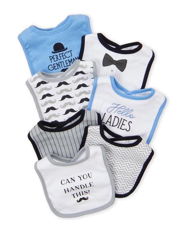 HUDSON BABY (Newborn Boys) 7-Pack Perfect Gentleman Baby Bibs