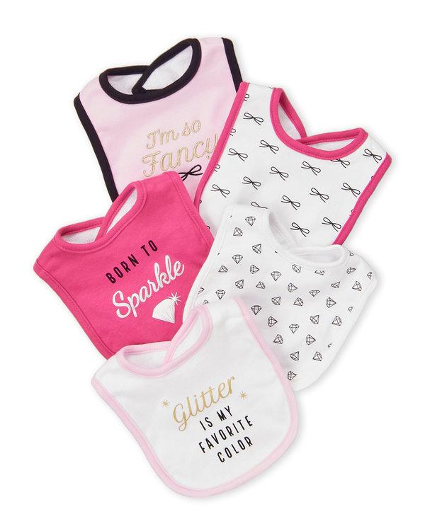 HUDSON BABY (Newborn Girls) 5-Pack Sparkle Baby Bibs
