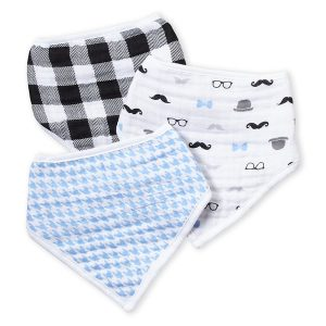 HUDSON BABY (Newborn:Infant Boys) 3-Pack Houndstooth & Plaid Print Muslin Bandana Bibs