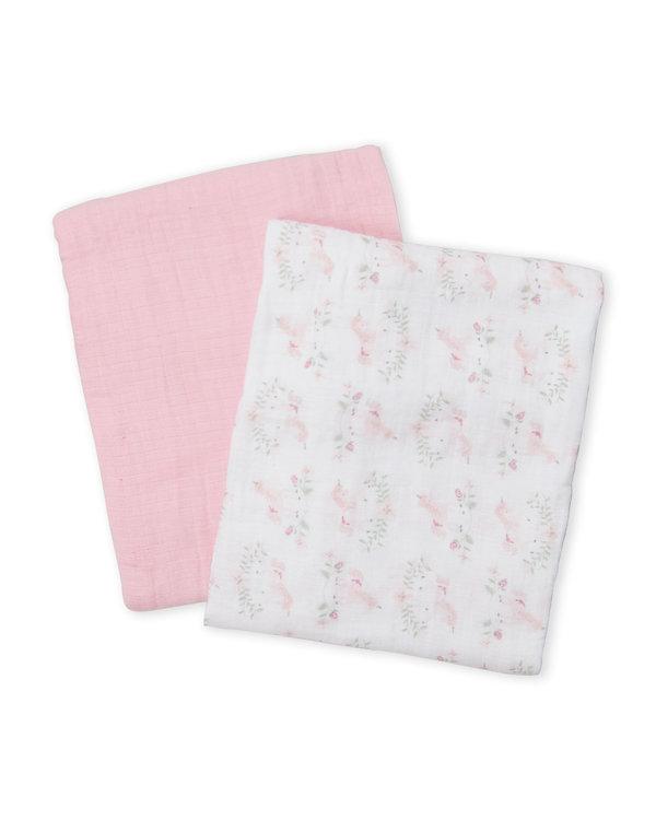 KYLE & DEENA (Newborn Girls) Two-Pack Muslin Blankets