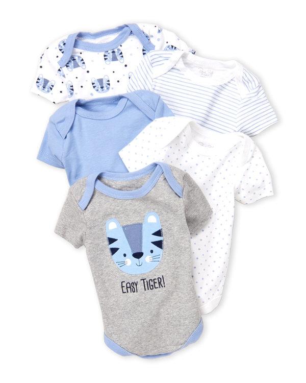 RENE ROFE (Newborn Boys) 5-Pack Tiger Bodysuits