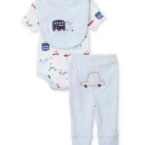 RENE ROFE (Newborn Boys) Two-Piece Cars Bodysuit & Blue Leggings Set