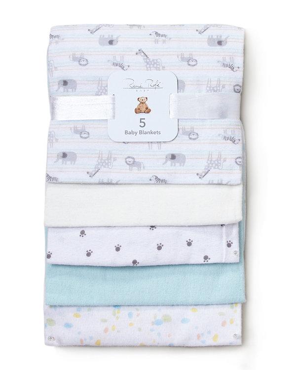 RENE ROFE (Newborn:Infant) 5-Pack Assorted Animal Baby Blankets
