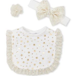TOES & BOWS (Newborn:Infant Girls) 3-Piece Foil Star Headband & Bib Set
