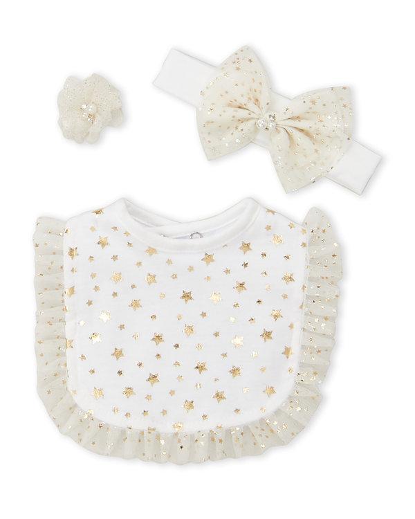 TOES & BOWS (Newborn:Infant Girls) 3-Piece Foil Star Headband & Bib Set