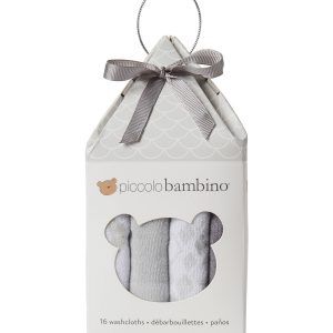 16-Piece Assorted Washcloth Set - Grey PB