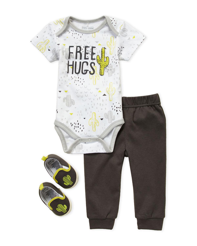 3-Piece Free Hugs Bodysuit & Joggers Set