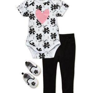 3-Piece Heart Floral Print Bodysuit & Leggings Set
