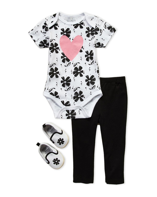 3-Piece Heart Floral Print Bodysuit & Leggings Set