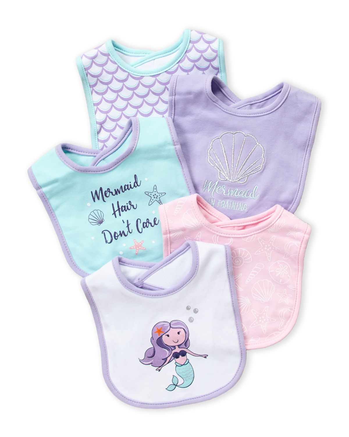 5-Pack Mermaid Baby Bibs