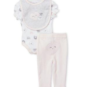 Two-Piece Bear Bodysuit & Pink Leggings Set