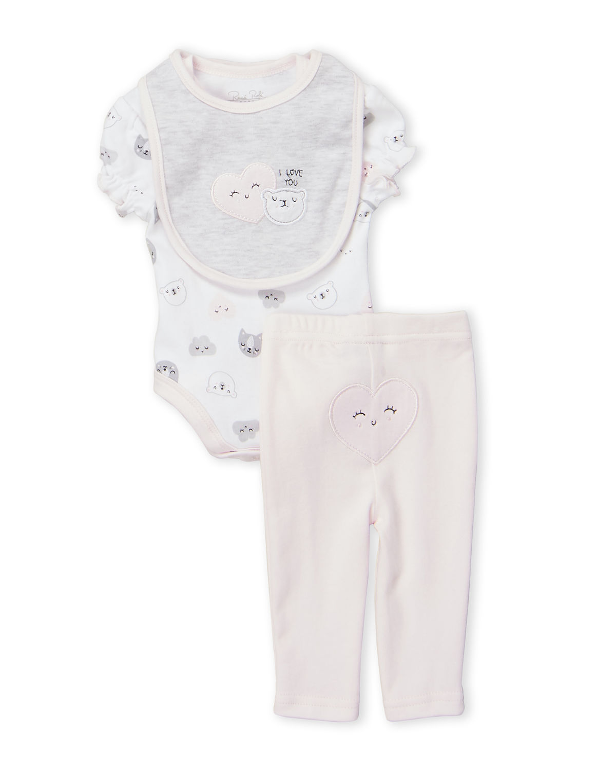 Two-Piece Bear Bodysuit & Pink Leggings Set