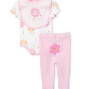 Two-Piece Flower Print Bodysuit & Pink Leggings Set
