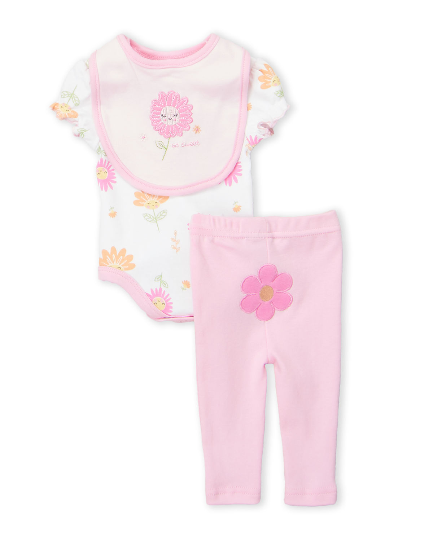 Two-Piece Flower Print Bodysuit & Pink Leggings Set