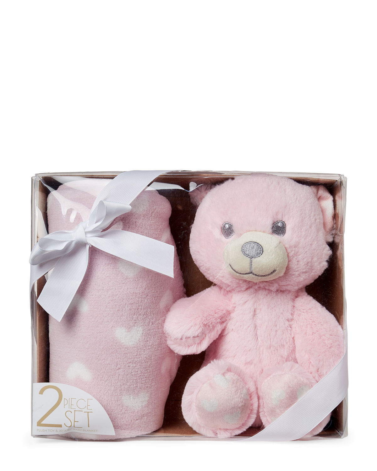 Pink Bear Plush Toy & Baby Blanket Gift Set